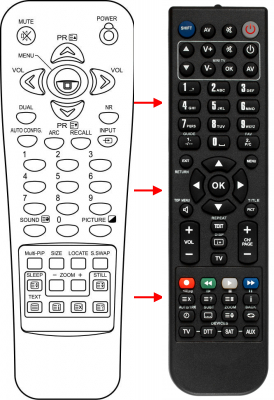 Erstatnings-fjernbetjening til  All Tel KPDP42