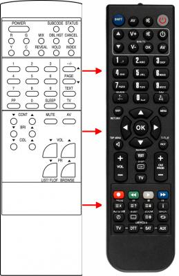 Erstatnings-fjernbetjening til  Medion 1020