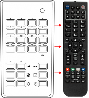 Replacement remote control for Sharp 002 638 0108