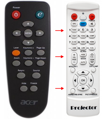 Replacement remote control for Acer 25.J060H.002