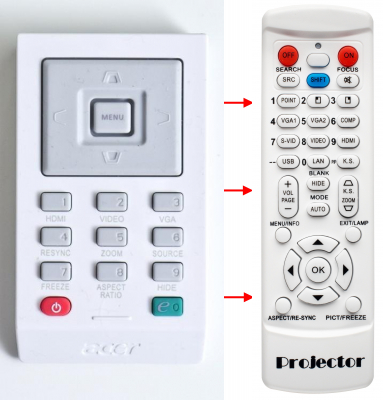 Replacement remote control for Acer A-16-B