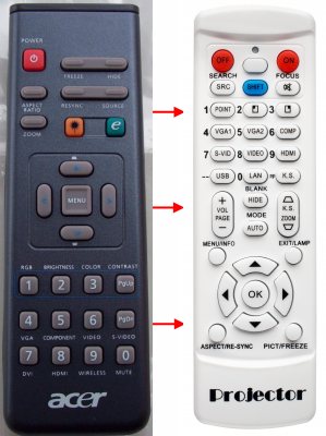 Replacement remote control for Acer A-2604