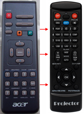 Replacement remote control for Acer A-2508