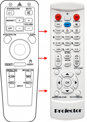 Replacement remote control for 3M MP7630