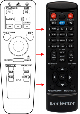 Replacement remote control for 3M MP8725