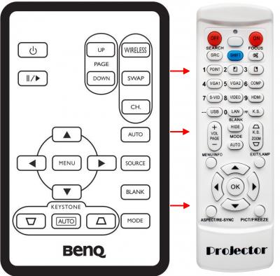 Erstatnings-fjernbetjening til  BenQ BP6240