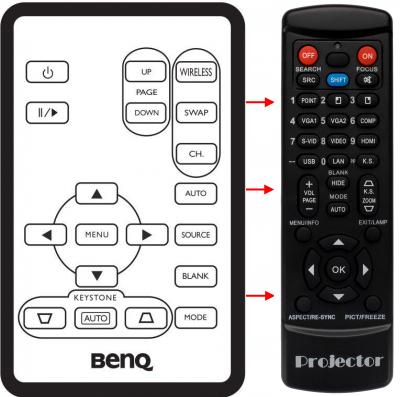 Erstatnings-fjernbetjening til  BenQ CP120