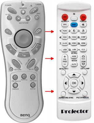 Erstatnings-fjernbetjening til  BenQ DS660