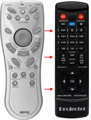 Erstatnings-fjernbetjening til  BenQ DS650