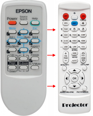 Erstatnings-fjernbetjening til  Epson 145663900
