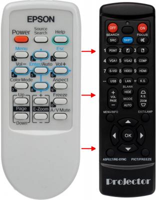 Erstatnings-fjernbetjening til  Epson 149160500