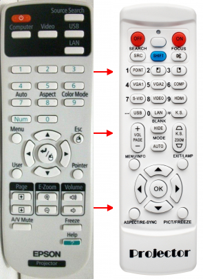 Erstatnings-fjernbetjening til  Epson 154720001
