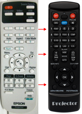Erstatnings-fjernbetjening til  Epson 154720000