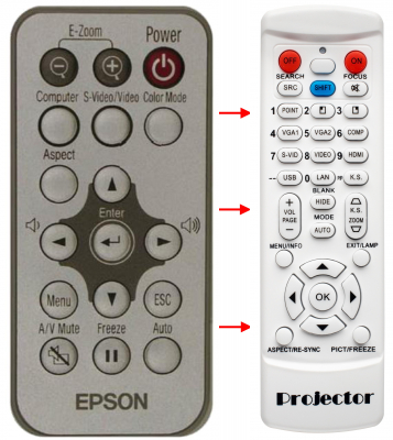 Erstatnings-fjernbetjening til  Epson 126125800