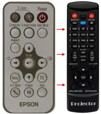 Erstatnings-fjernbetjening til  Epson 1261258