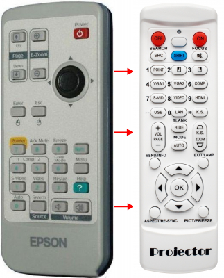 Erstatnings-fjernbetjening til  Epson 130620000