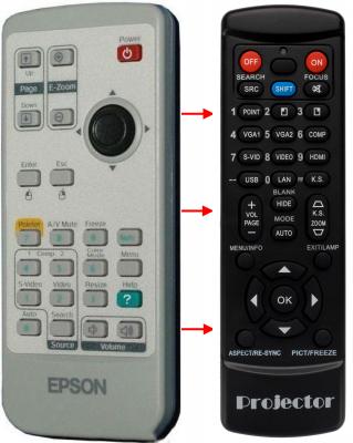 Erstatnings-fjernbetjening til  Epson 1452589