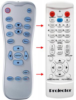 Erstatnings-fjernbetjening til  Optoma BR-3021N