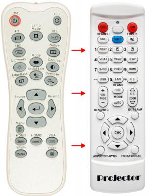 Erstatnings-fjernbetjening til  Optoma BR-3042B