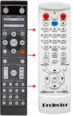 Erstatnings-fjernbetjening til  Optoma BR-3070L