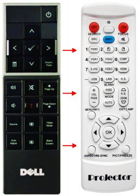 Erstatnings-fjernbetjening til  Dell 1210S