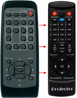 Replacement remote control for 3M X36