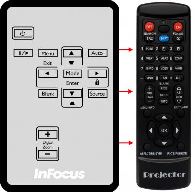 Erstatnings-fjernbetjening til  Infocus IN102