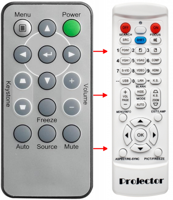 Erstatnings-fjernbetjening til  Vivitek D510