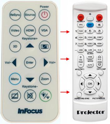 Erstatnings-fjernbetjening til  Infocus IN110V