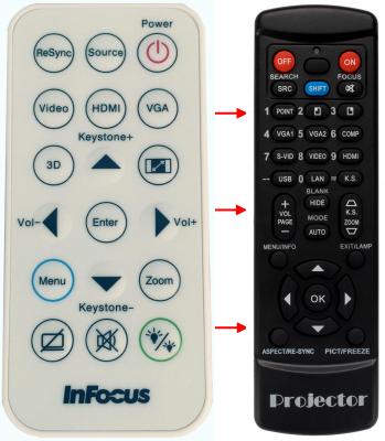 Erstatnings-fjernbetjening til  Infocus IN110XA