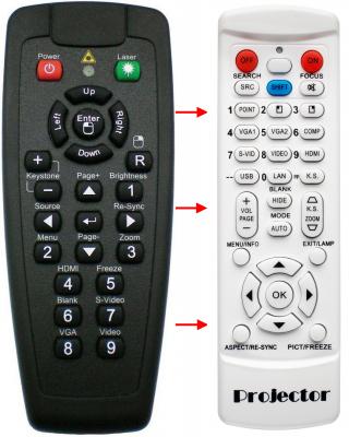 Erstatnings-fjernbetjening til  Optoma BR-5021L