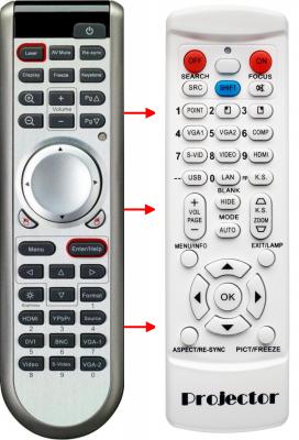 Erstatnings-fjernbetjening til  Optoma BR-5024L