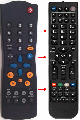 Replacement remote control for Argentina 1803DVD ADMIRAL