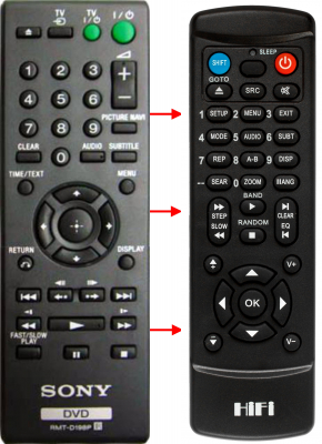 Replacement remote control for Sony 1-418-320-21