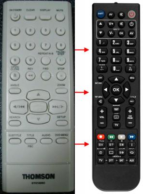 Erstatnings-fjernbetjening til  DK Digital DVD339