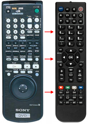 Replacement remote control for Sony 1-418-075-21