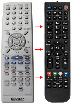 Replacement remote control for Sharp 076ROJJ050