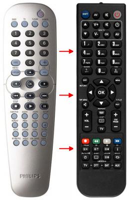 Erstatnings-fjernbetjening til  Philips 1080P DVD PLAYER