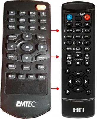 Erstatnings-fjernbetjening til  Emtec MOVIE CUBE K220