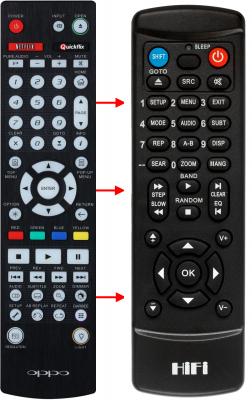 Erstatnings-fjernbetjening til  Oppo BDP-103D