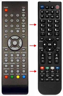 Erstatnings-fjernbetjening til  Ecron DVB19-EC