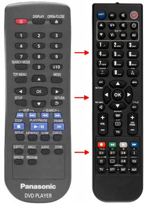 Replacement remote control for Technics DVD-A10
