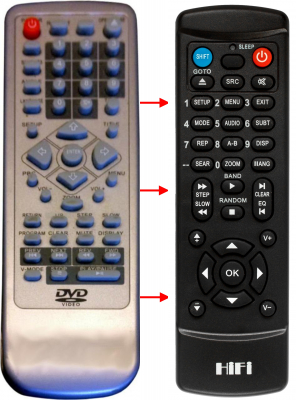 Replacement remote control for DK Digital DVD538
