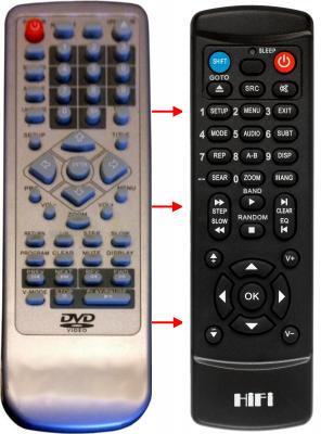 Erstatnings-fjernbetjening til  DK Digital DVD538