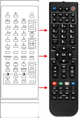 Erstatnings-fjernbetjening til  Interdiscount 1ATOE401