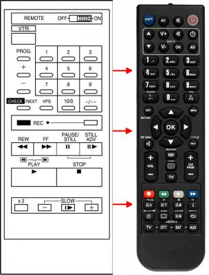 Erstatnings-fjernbetjening til  Braun VC-04