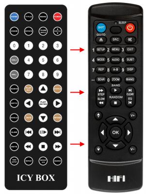 Erstatnings-fjernbetjening til  Icy Box IB-MP303
