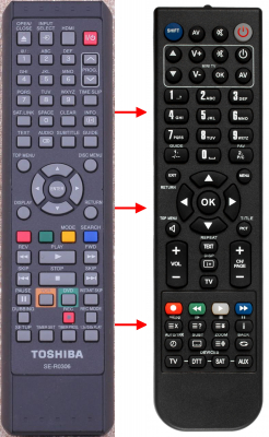 Replacement remote control for Toshiba 00132020(VCR)