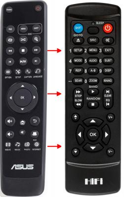Erstatnings-fjernbetjening til  Asus MEDIA PLAYER HD2