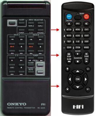 Erstatnings-fjernbetjening til  Onkyo A-807